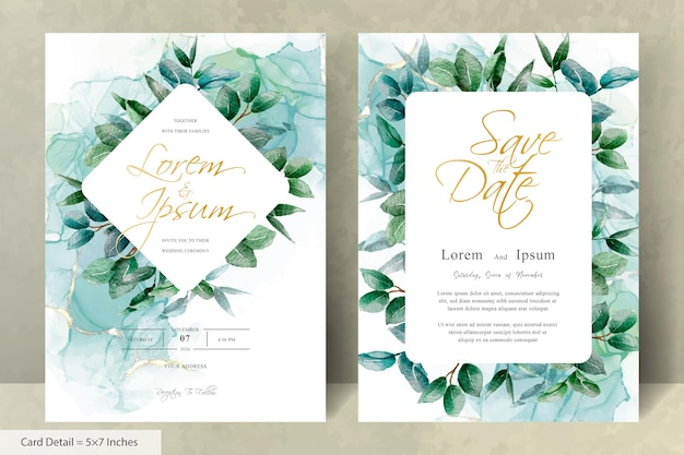 Набор зеленых свадебных приглашений с шестигранной рамкой листвы