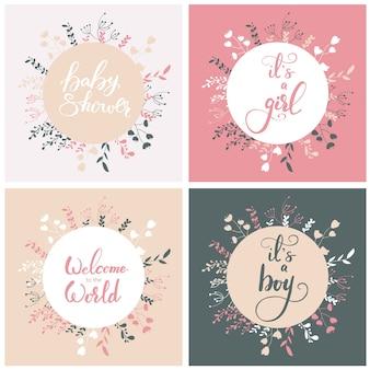 Набор дизайнов поздравительных открыток для детского душа. векторные иллюстрации.