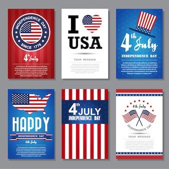 Набор поздравительных открыток, фон независимый день.