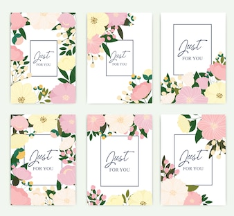 Set of greeting card with flowers.