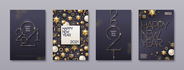 黄金の新年のロゴが付いたグリーティングカードのセットです。クリスマスの装飾が施された背景。