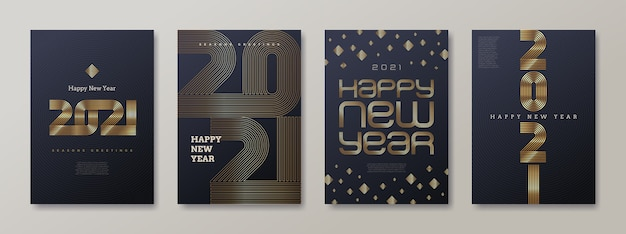 黄金の新年のロゴが付いたグリーティングカードのセットです。新年のゴールデンサイン、イラスト。