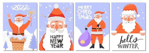 다양한 포즈와 글자에 산타클로스 캐릭터가 있는 인사말 카드 세트