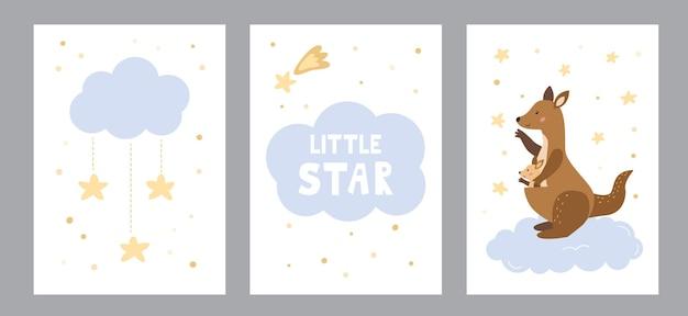 아기 구름과 별이 있는 어미 캥거루가 있는 보육원용 인사말 카드 및 포스터 세트