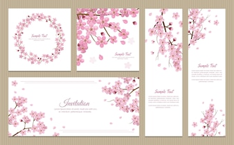 Set of greeting cards, banners and invitation card with blossom sakura flowers