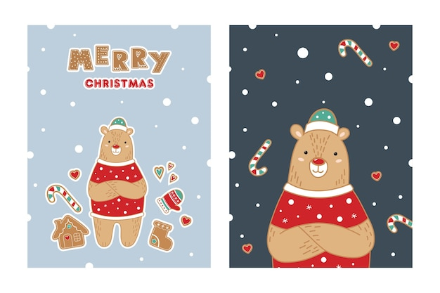 かわいいクマとグリーティングカードのセットです。新年。メリークリスマス。