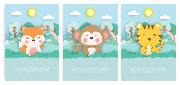 귀여운 여우, 원숭이와 종이 컷 스타일의 숲에서 호랑이 인사말 카드 세트.