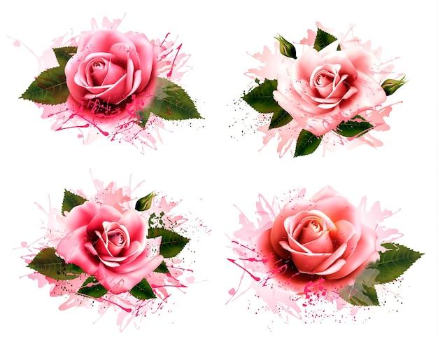 Набор открыток с розовыми розами. вектор