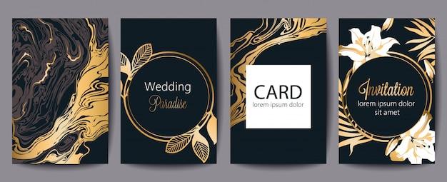 テキストのための場所でのグリーティングカードのセットです。結婚式の楽園。招待。黒と金の装飾。花のテーマ