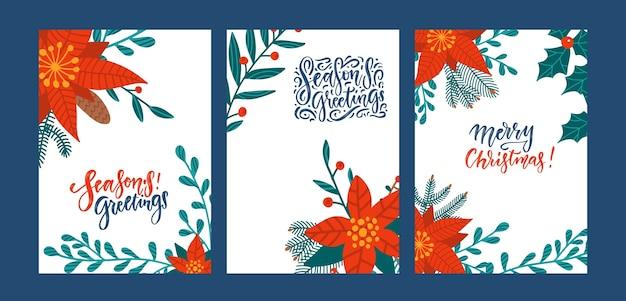 Набор поздравительных открыток с цветами пуансеттии. красная пуансеттия, рождественская зелень, листья и падуб