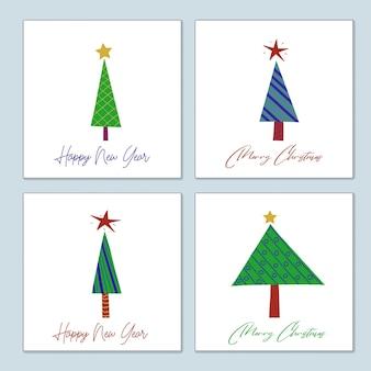 양식에 일치시키는 장식된 크리스마스 트리의 인사말 크리스마스 카드 세트