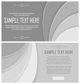 Набор серых абстрактных полосатых листовок
