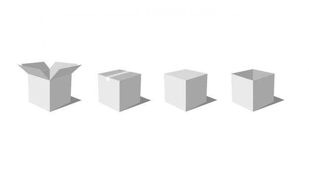흰색 위에 회색 상자 세트
