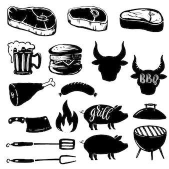 グリル要素のセット。ステーキ、グリル、ハンバーガー、ビールジョッキ、肉。ロゴ、ラベル、エンブレム、記号のデザイン要素。図