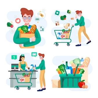 食料品店やスーパーマーケットでの買い物のコンセプトイラストのセット