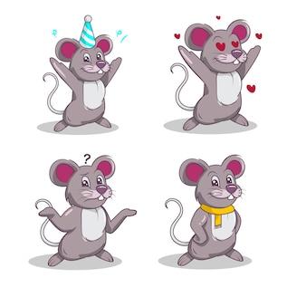 그룹 귀여운 마우스 마스코트 로고 디자인 세트