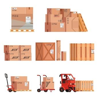 더미에 쌓인 된 상자 그룹의 집합입니다. 상자, 상자 및화물이있는 로더.