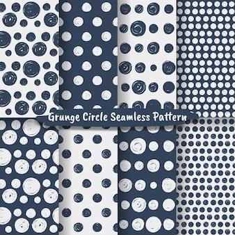 グランジサークルブラシストローク幾何学的なシームレスパターンのセット