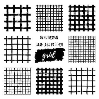 그런 지 격자 완벽 한 패턴의 집합입니다. 잉크 브러시 스트로크로 그린 추상 격자 무늬 질감 손. 직물, 벽지, 티셔츠에 인쇄할 수 있는 간단한 스타일의 벡터 흑백 스칸디나비아 배경