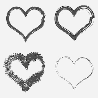 Набор гранж сердец. абстрактный рисунок кисти. векторная иллюстрация.