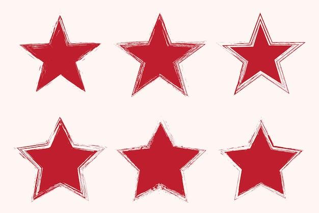 Набор гранж красной звезды иконок