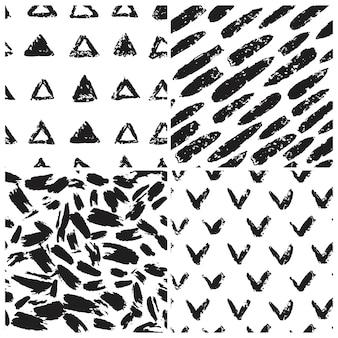 グランジテクスチャシームレスパターンのセットです。三角形の形、チェックマーク、ストライプ、抽象的な芸術的なブラシの壁紙。ベクトルイラスト