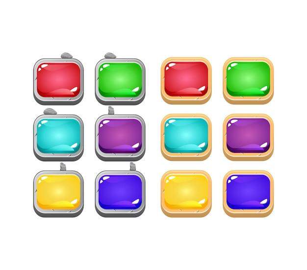 돌과 나무 테두리와 gui 다채로운 젤리 버튼 세트