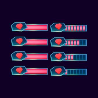 ゲームuiアセット要素のguiファンタジー光沢のある健康ライフプログレスバーのセット