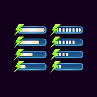 Набор графической панели энергии прогресса фантазии для элементов пользовательского интерфейса игры