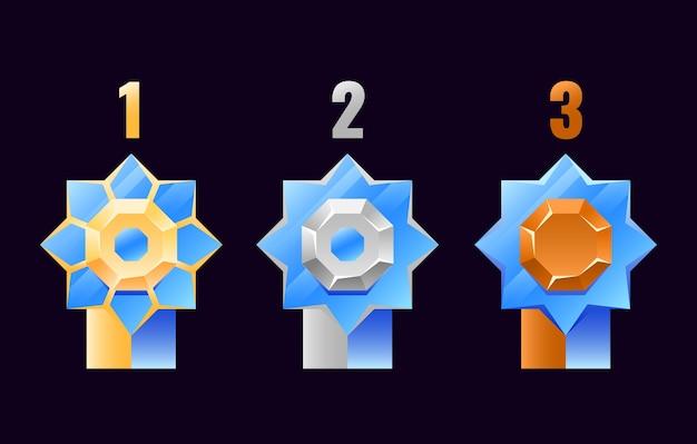 게임 ui 자산 요소에 대한 등급이있는 gui 기하학적 황금, 은색, 동메달 등급 메달 배지 세트