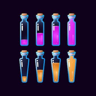 Набор графических элементов анимации бутылки зелья от низкого до полного для элементов пользовательского интерфейса игры