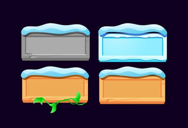 Набор кнопок gui rock, льда, деревянных и деревянных листьев с рождественской темой для элементов пользовательского интерфейса игры