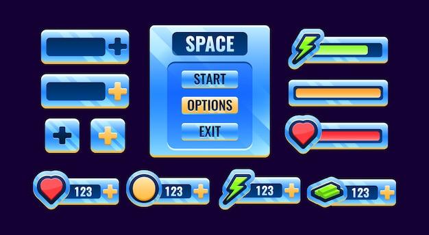 Guiスペースバー、ボードメニュー、ゲームuiアセット要素のパネルアイコンのセット