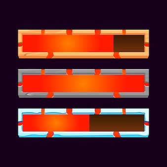 Набор графического интерфейса из дерева, камня, льда с полосой загрузки лавы для элементов пользовательского интерфейса игры
