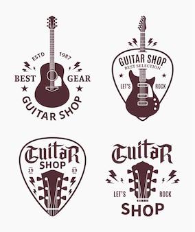 기타 상점 로고의 집합입니다. 오디오 스토어, 브랜딩, 포스터 또는 티셔츠 인쇄용 음악 아이콘