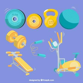 운동 도구와 체육관 요소 집합