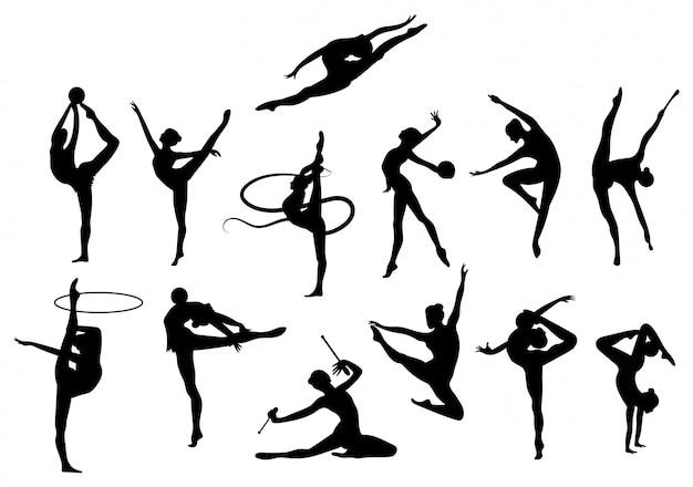Набор гимнасток на белом фоне. коллекция гимнасток, выполняющих различные трюки.