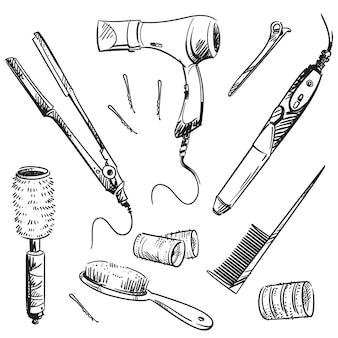 ヘアスタイリングツール、ベクトルスケッチのセット