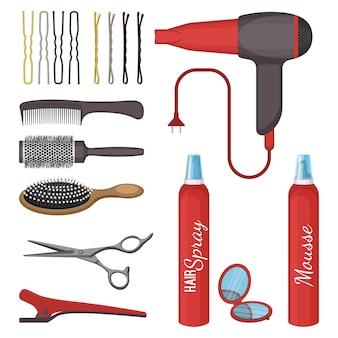 Набор парикмахерских инструментов векторные иллюстрации, изолированные на белом. профессиональные расчески, ножницы и спреи, фен и значки заколки