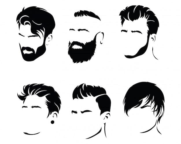 男性のためのヘアスタイルのセット。髪型とひげの黒いシルエットのコレクション。