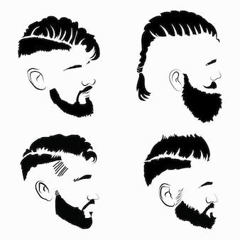 男性用のヘアスタイルのセット。髪型とひげの黒いシルエットのコレクション。