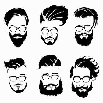 メガネの男性のためのヘアスタイルのセット。髪型とひげの黒いシルエットのコレクション。