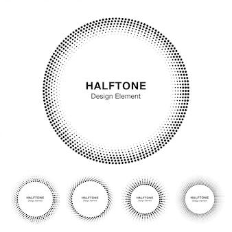 Набор рамок круг полутонового изображения. вектор