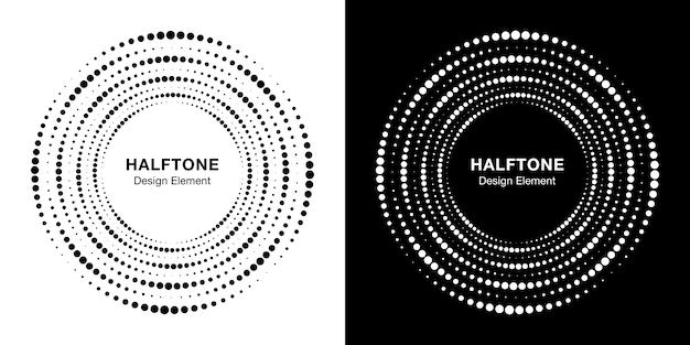 ハーフトーン円形点線フレームのセットです。サークルドット背景。