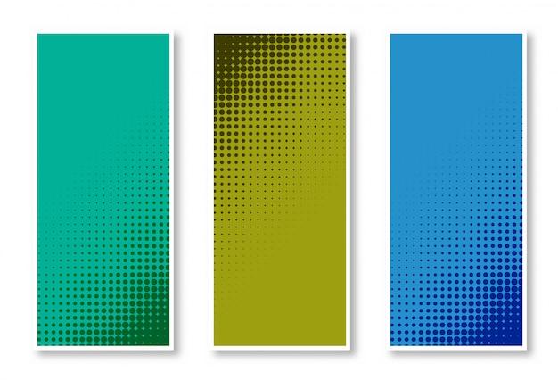 3つの色の美しいデザインのハーフトーン垂直バナーの背景のセット