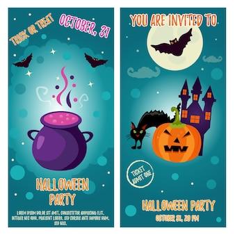 Набор фонов хэллоуина с яркими персонажами. шаблон приглашения на вечеринку