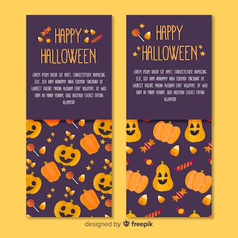 Set of halloween banners in flat design