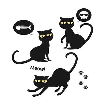 ハロウィーンの黒い猫のセット。