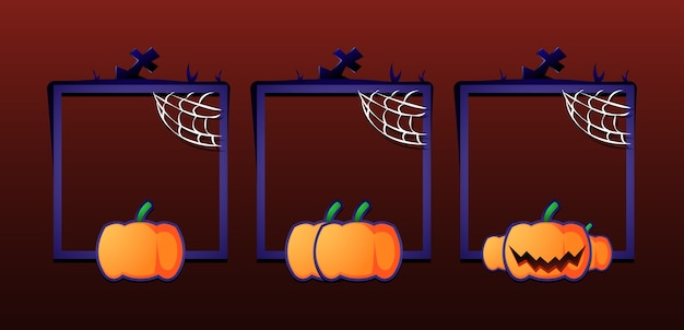 ゲームuiアセット要素のグレードとハロウィーンの境界線フレームのセット
