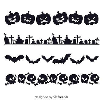 Set of halloween borders